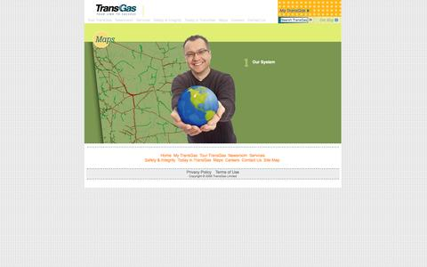 Screenshot of Maps & Directions Page transgas.com - Maps - captured Oct. 7, 2014