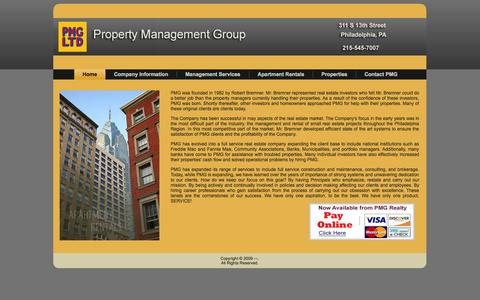 Screenshot of Home Page propertymanagementgroup.com - Property Management Group - captured Sept. 30, 2014