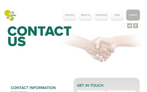 Screenshot of Contact Page vivecrop.com - Contact us - Vive Crop Protection - captured Nov. 21, 2019