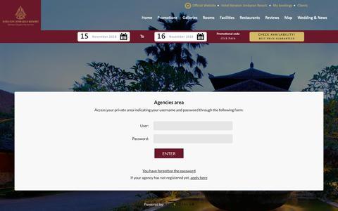 Screenshot of Login Page keratonjimbaranresort.com - Access to agencies' private area Keraton Jimbaran - captured Nov. 15, 2018