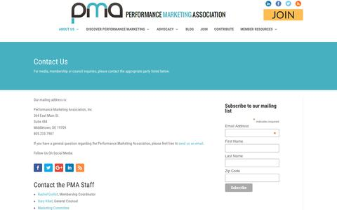 Screenshot of Contact Page thepma.org - Contact Us | The PMA - captured June 29, 2017