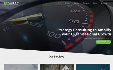 Screenshot of Home Page gosonix.com - Sales Consulting for B2B Technology Startups in Bangalore - Gosonix - captured Dec. 8, 2018