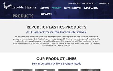 Screenshot of Products Page republicplastics.com - Disposable Dinnerware & Tableware Manufactuerers: Republic Plastics - captured Aug. 13, 2016