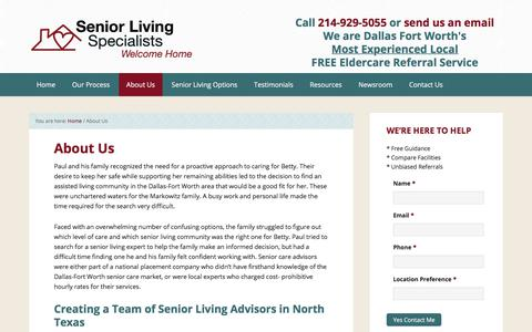 Screenshot of About Page seniorlivingspecialists.com - About Us | Senior Living Referrals in Dallas, Plano, and the DFW Area - captured Nov. 12, 2017