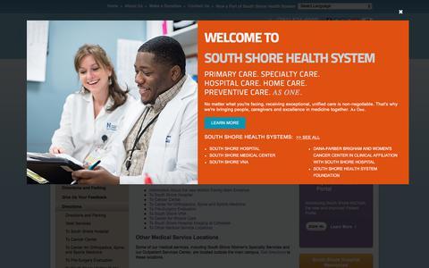 Screenshot of Maps & Directions Page southshorehospital.org - Directions - South Shore Hospital, South Weymouth - Boston, Massachusetts (MA) - captured Sept. 21, 2018
