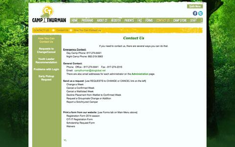 Screenshot of Contact Page campthurman.org - How You Can Contact Us - captured Sept. 29, 2014