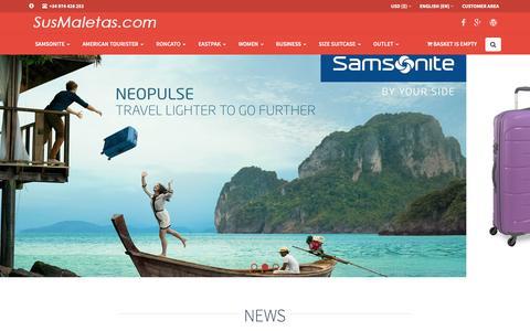 Screenshot of Home Page susmaletas.com - Suitcases and bags Samsonite, American Tourister, Roncato, Michael Kors - captured June 4, 2016
