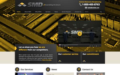 Screenshot of Home Page smdokc.com - SMD - Full-service contract electronics manufacturer - captured Oct. 3, 2014