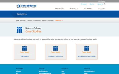 Screenshot of Case Studies Page consolidated.com - Business Case Studies | Consolidated - captured July 20, 2018