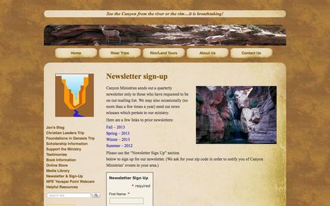 Screenshot of Signup Page canyonministries.com - Newsletter Sign-Up | - captured Sept. 30, 2014