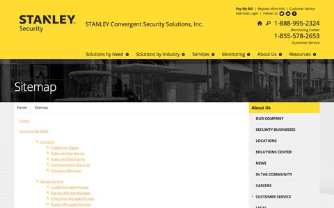 Screenshot of Site Map Page stanleysecuritysolutions.com - Sitemap - captured Sept. 26, 2018