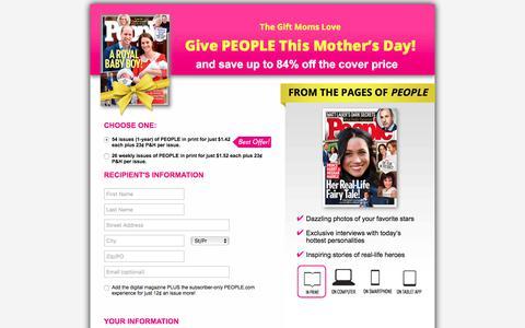 Screenshot of Landing Page people.com - The Gift Moms Love - captured April 26, 2018