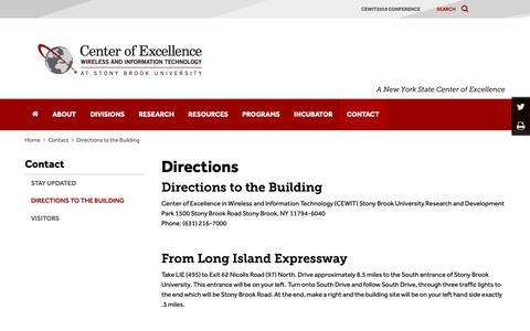 Screenshot of Maps & Directions Page cewit.org - Directions to the Building | CEWIT - captured Oct. 18, 2018