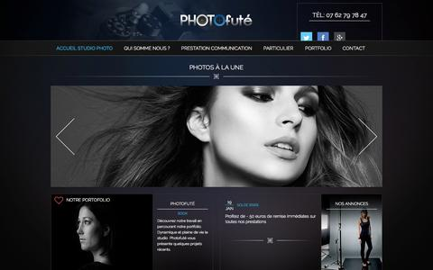 Screenshot of Home Page photofute.com - Le studio Photo futé / basé sur Orleans experte dans l'élaboration de votre communication visuellePhotofute | studio photo Prestataire de qualité - captured Sept. 12, 2015