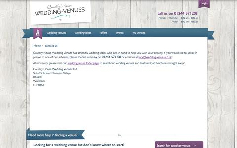 Screenshot of Contact Page wedding-venues.co.uk - Contact our wedding team: Country House Wedding Venues - captured Sept. 25, 2014