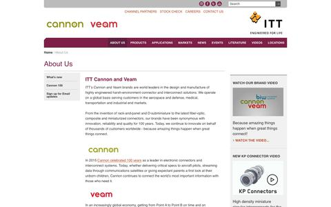 Screenshot of About Page ittcannon.com - ITT Cannon and Veam | About Us | ITT Cannon - captured July 14, 2019