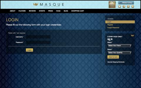 Screenshot of Login Page yourmasque.com - Login | Masque - captured Nov. 3, 2014