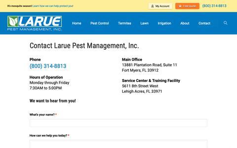 Screenshot of Contact Page laruepest.com - Larue Pest Management, Inc. says... - captured Sept. 27, 2018