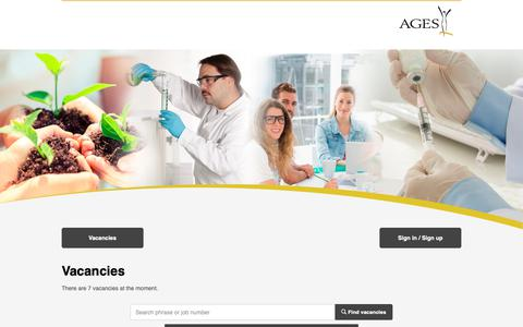 Screenshot of Jobs Page ages.at - Job Portal - captured Nov. 8, 2018