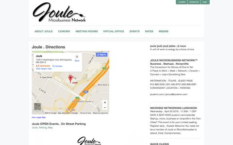 Screenshot of Maps & Directions Page joulemn.com - Joule . Directions - Joule Microbusiness NetworkJoule Microbusiness Network - captured Feb. 11, 2016