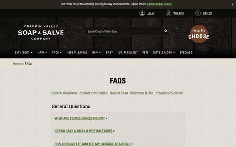 Screenshot of FAQ Page chagrinvalleysoapandsalve.com - FAQs | - captured Oct. 30, 2017