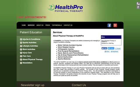 Screenshot of Services Page healthpropt.net - HealthPro Physical Therapy in Lynn - About Physical Therapy at HealthPro - captured Sept. 27, 2018