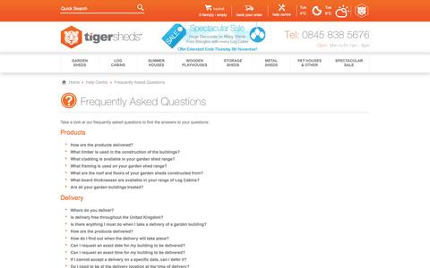 Screenshot of FAQ Page tigersheds.com - Frequently Asked Questions - captured Nov. 4, 2014