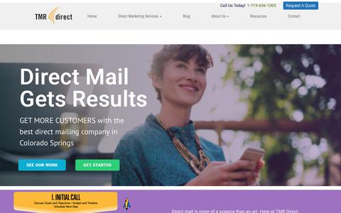 Screenshot of Home Page tmrdirect.com - Direct Mail Company | Direct Marketing Company - captured April 19, 2018