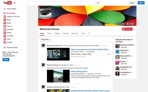 Screenshot of YouTube Page youtube.com - Mohamed Ahmed  - YouTube - captured Oct. 23, 2014