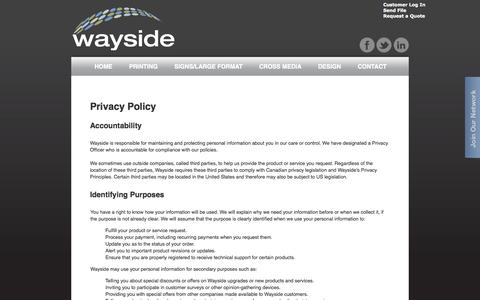Screenshot of Privacy Page waysideco.ca - Contact Wayside | Where is Wayside? - Vernon, Kelowna, Kamloops, Vancouver BC - captured Oct. 7, 2014