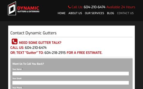 Screenshot of Contact Page Locations Page dynamicgutters.com - Contact Dynamic Gutters Vancouver 604-210-6474 - captured Oct. 9, 2018