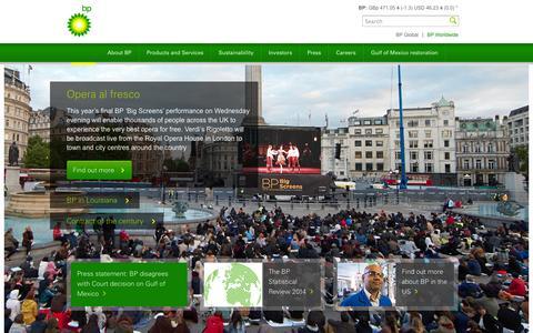 Screenshot of Home Page bp.com - BP Global - captured Sept. 18, 2014
