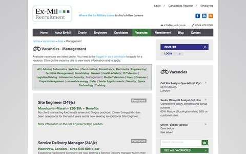 Screenshot of Team Page ex-mil.co.uk - Vacancies - Management | Ex-Mil Recruitment ex military forces army navy airforce resettlement marine jobs iraq - captured Oct. 3, 2014