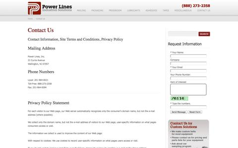Screenshot of Privacy Page Contact Page powerlinesusa.com - Contact Us | Privacy Policy | Site Terms and Conditions - captured Oct. 2, 2014