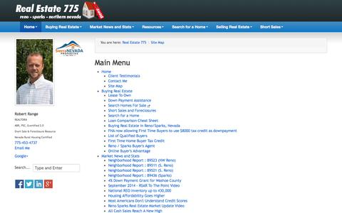 Screenshot of Site Map Page realestate775.com - Real Estate 775 by Robert Range | Reno Sparks Real Estate - Site Map - captured Oct. 9, 2014