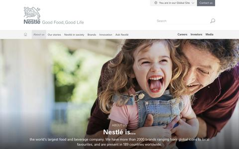 Screenshot of About Page nestle.com - About us | Nestlé Global - captured Feb. 6, 2019