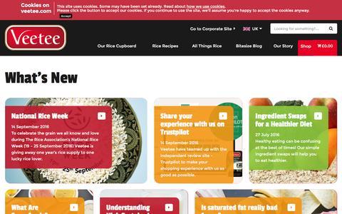 Screenshot of Blog veetee.com - Our Bitesize Blog from Veetee Rice - captured Dec. 9, 2016