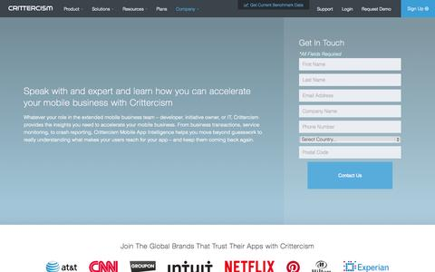 Screenshot of Contact Page crittercism.com - Contact Us - Crittercism - captured Nov. 18, 2015