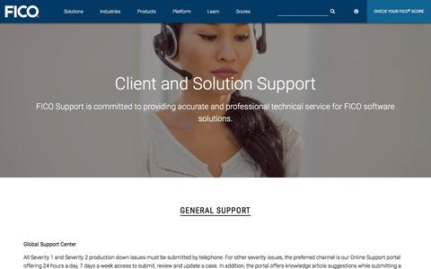 Screenshot of Support Page fico.com - Client And Solution Support   FICO - captured Feb. 20, 2020