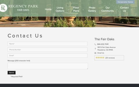 Screenshot of Contact Page regencypk.com - Contact The Fair Oaks Senior Living in Pasadena, CA - captured Oct. 23, 2018