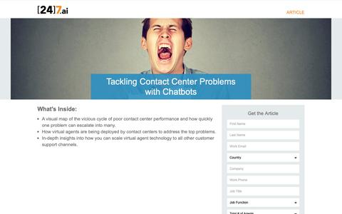 Screenshot of Landing Page 247.ai - Tackling Contact Center Problems with Chatbots - captured Nov. 26, 2018