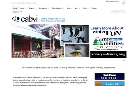 Screenshot of Home Page cabvi.org - Central Association for the Blind & Visually Impaired - captured Oct. 10, 2014