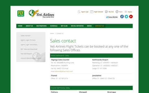 Screenshot of Contact Page yetiairlines.com - Contact Us - captured Nov. 2, 2014