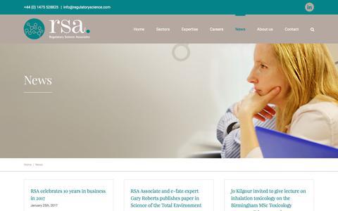 Screenshot of Press Page regulatoryscience.com - News from Regulatory Science Associates - RSA - Toxicologists, Regulatory Affairs Specialists and PMs - captured Nov. 7, 2017
