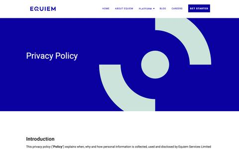 Screenshot of Privacy Page getequiem.com - Equiem Privacy Policy - captured March 26, 2019