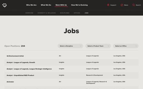 Screenshot of Jobs Page riotgames.com - Jobs | Riot Games - captured Feb. 20, 2019