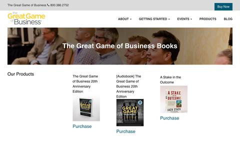Screenshot of Products Page greatgame.com - Products | The Great Game of Business - captured April 17, 2018