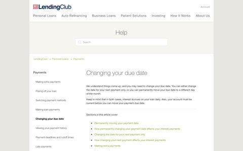 Screenshot of Support Page lendingclub.com - Changing your due date – LendingClub - captured June 27, 2018