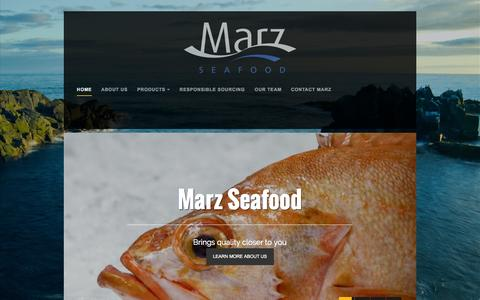 Screenshot of Home Page marz.is - Icelandic Seafood Supplier in Iceland and Denmark - Marz Seafood - captured Oct. 6, 2014