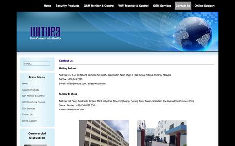Screenshot of Contact Page witura.com - Contact Us - Witura - captured Oct. 30, 2014